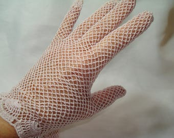 1970s ARIS Pale Rose Pink Crocheted Gloves.