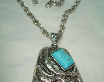 1995 Large Antiqued Silver with Turquoise Colored Cabochon Necklace.