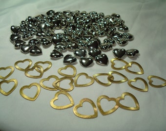 Large Grouping of Silver Tone Puffy Metal Hearts and Golden Heart Charms.