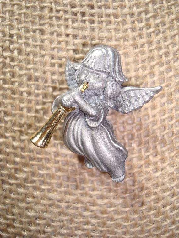 Vintage Pewter Tone Little Angel with Golden Trumpet Pin.