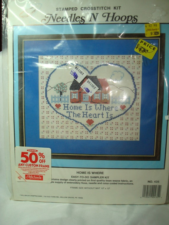 Vintage New Complete Needles N Hoops Stamped Cross Stitch Kit Home Is Where The Heart Is