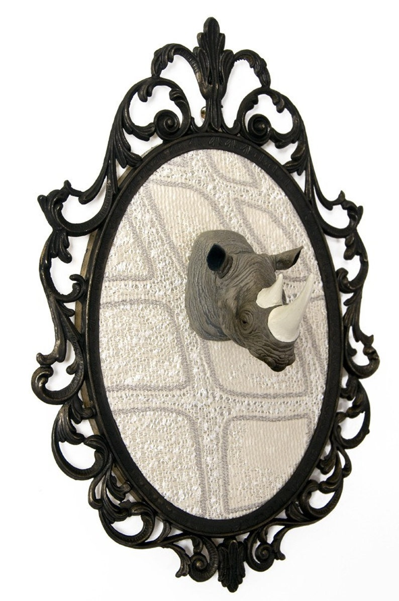 Miniature Rhino Head Mount in Victorian Frame  Faux Taxidermy image 0