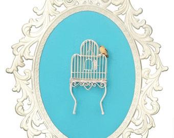 Birdcage with Bird - Victorian Framed Object - Wall Art Decor 10.5x13.5