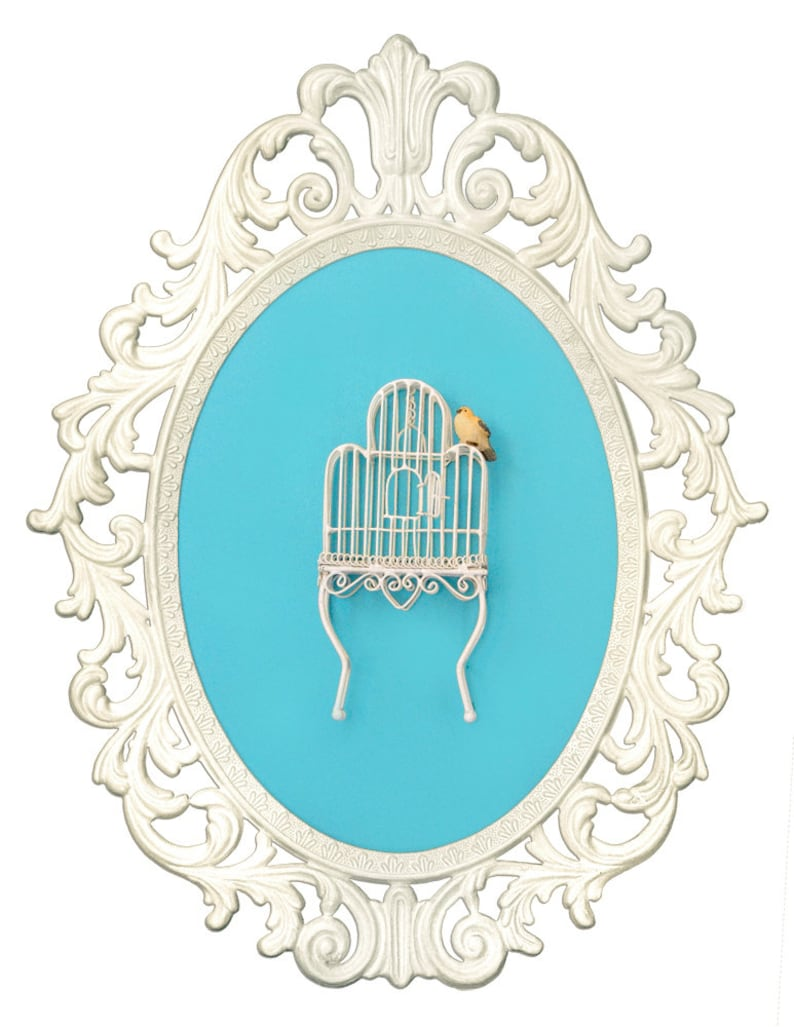 Birdcage with Bird  Victorian Framed Object  Wall Art Decor image 0