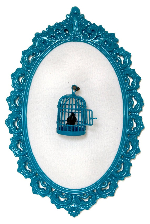 Birdcage with Black Bird in Victorian Frame Wall Art Decor