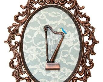 Miniature Harp with Bird - Victorian Framed Object - Wall Art Decor - 10.5x13.5in