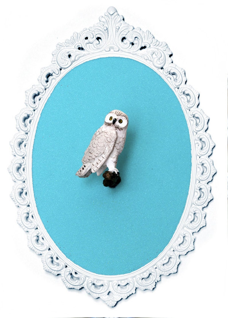 Miniature Snowy Owl  Victorian Framed Object  Wall Art Decor image 0