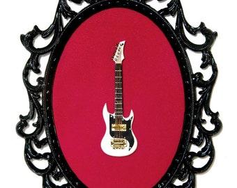 Miniature Guitar in Victorian Frame - Wall Art Decor 7x10in