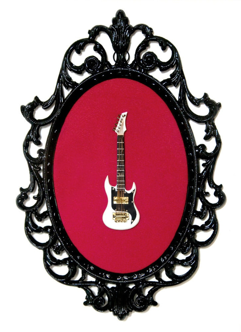 Miniature Guitar in Victorian Frame  Wall Art Decor 7x10in image 0