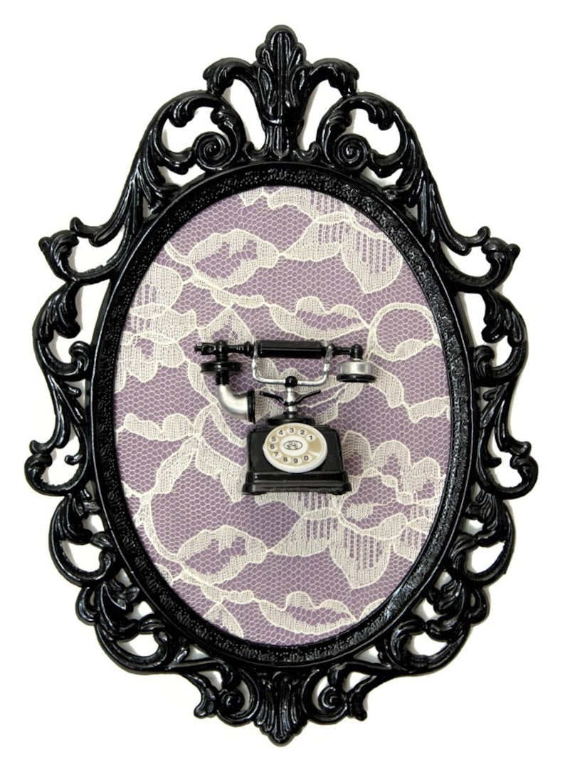Miniature Vintage Telephone on Lace in Vicotrian Frame  Wall image 0