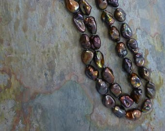 Iridescent Coppery Brown Freshwater Nugget Pearls with Vermeil Toggle Clasp