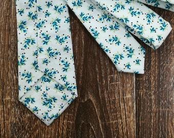 White Green Blue Floral Hand Stitched Modern Mens Necktie