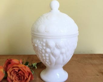 Vintage Milk Glass Footed Covered Dish, Floral Embossed, Avon Milk Glass