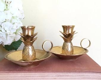 Vintage Brass, Pineapple Candleholders, Set of 2, Handled Candleholders, Candle Holders