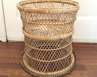 Vintage Wicker Plant Stand or Table Base, Boho Decor