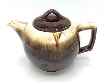 McCoy Brown Drip Tea Pot, Small Pottery Teapot, Number 140, 1970's