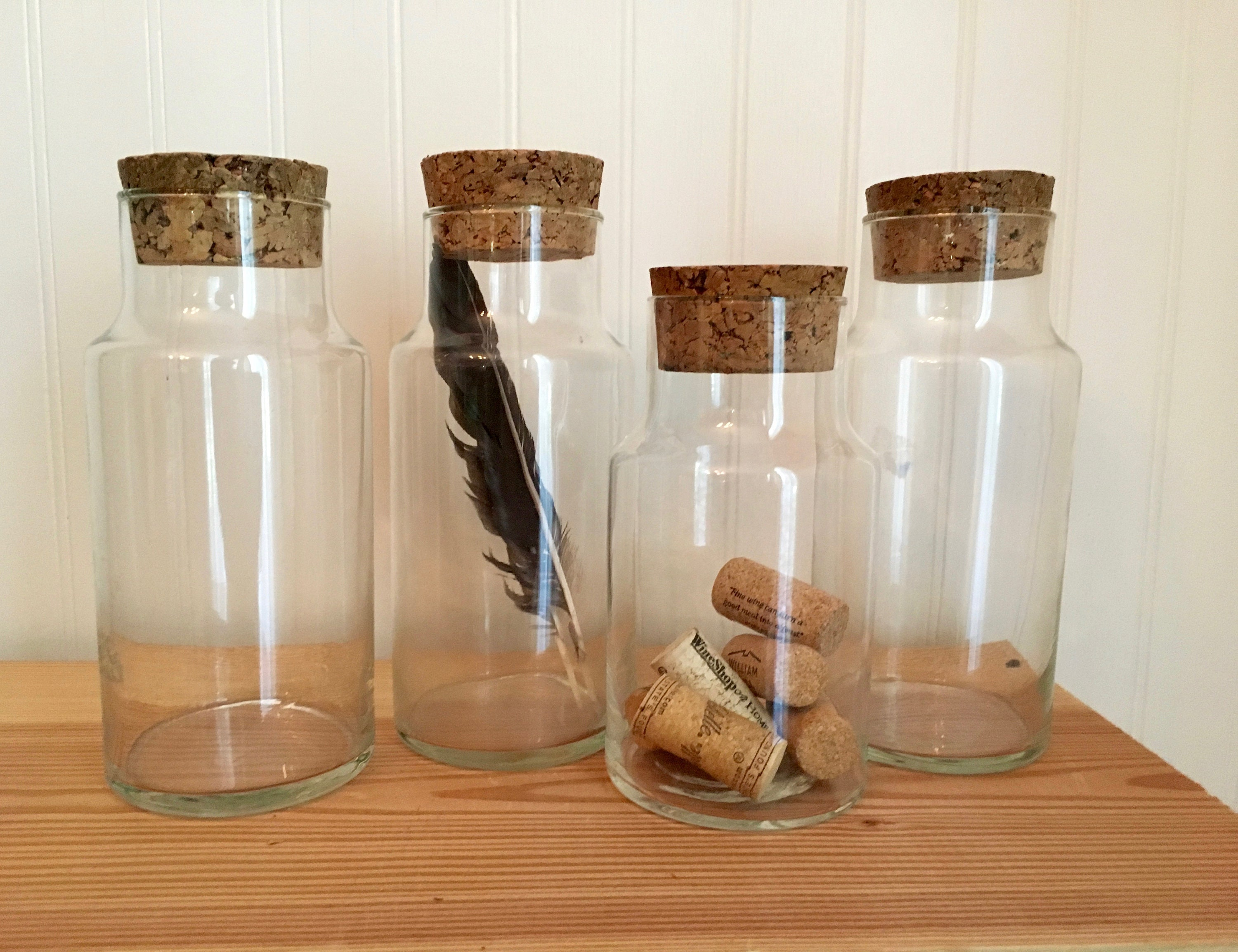 Group Of Four Glass Storage Jars With Cork Lids Cylinder Etsy