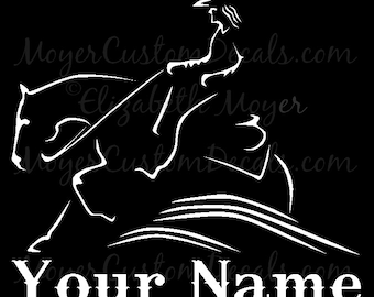 Reining Horse Sliding Stop Western Rider #2 Vinyl Decal Sticker YOU PERSONALIZE Name and Color