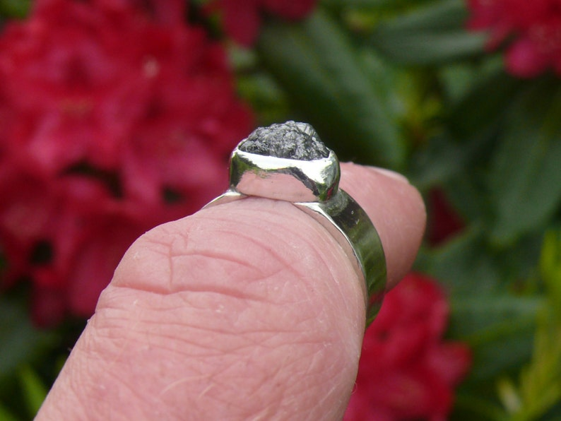 Raw Rough Grey Black Diamond Sterling Silver Cocktail Statement Ring Size 6 34