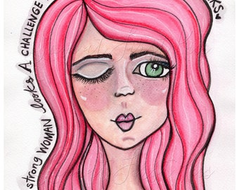 Strong Woman - Pink Hair Portrait, Art Print Wall Art Decor Watercolor Painting Girl 8 x 10 -  Wink at Challenge