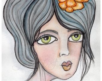 Feed Me Tacos, Taco Love, Portrait of a Woman, Art Print, Wall Art Decor Watercolor Painting 8 x 10 - Green Eyes Boho