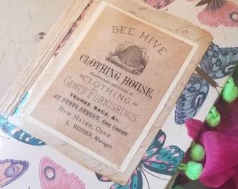 In the Garden Junk Journal Handmade, Butterfly Butterflies, Bees, Paper Dolls and Ephemera