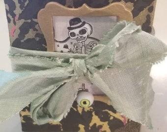 Skully Junk Journal Handmade, Gold, Skeletons, Goth Steampunk