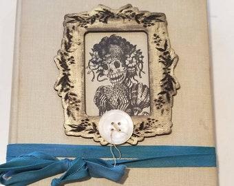 Steampunk Gothic Junk Journal Handmade Book Skulls Vintage Lace