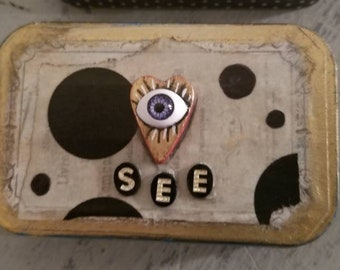 Purple Evil Eye in Heart Miniature Junk Journal in Altered Art Altoid Tin with Gold - See