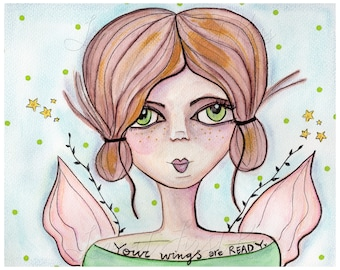 Your Wings Are Ready - Green Eyed Woman Portrait, Art Print Wall Art Decor Watercolor Painting Girl 8 x 10 - Angel Wings, Fairy Pixie