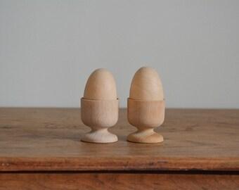Vintage Wood Egg Cups | Set of 2 Wooden Egg Cups | Wood Egg Cups | Mid Century Modern Egg Cups | Egg Holder | Turned Wood Egg Cups