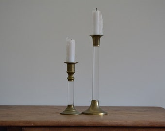 Vintage Brass and Acrylic Candleholders | Lucite and Brass Candleholders | Brass Candlesticks | Brass Candleholders | Mid Century Brass