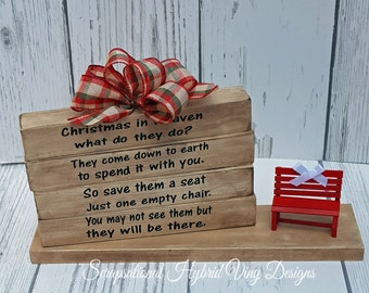 Christmas in Heaven Light Wood Block Designs, Great Memorial, Honor Loved Ones,  Red Bench included, Free Personalization