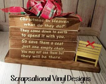 Christmas in Heaven Dark Wood Block Designs, Great Memorial, Honor Loved Ones, Bench included, Free Personalization