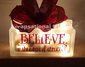 Christmas, Believe in the Magic of Christmas, lighted block , glass block, lights, believe, gift, snow