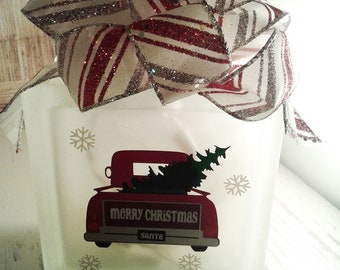 Christmas, Red Truck with Tree, lighted block , glass block, lights, gift, snow