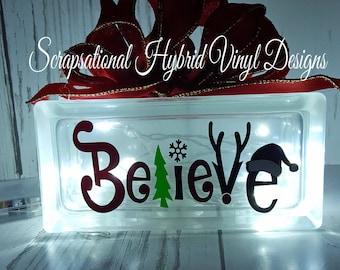 Christmas,  Believe, lighted block , glass block, lights, gift, home, decor, snow