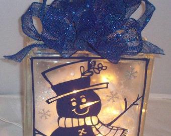 Block, Christmas, Lighted Block, Snowman, Lights, Let it Snow, Decorative Glass, Gift, Snow