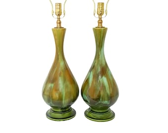 Pair Mid-Century Modern Green Turquoise Drip Glaze Pottery Lamps Refurbished