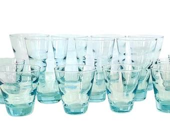 Libbey Drinking Glass Tumblers SET 15 Saturn Optic Ripple Aqua 8 highball + 7 rocks