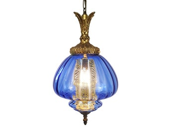 590830c30948 Mid-Century Hollywood Regency Italian Blue Optic Glass Hanging Swag Lamp