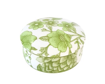 Tiffany and Co. Trinket Powder Box Green Poppy Design Japanese Porcelain