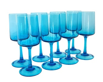 Vintage Set 8 Turquoise Blue Italian Wine Goblets Glasses Mid-Century Modern