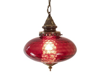 Mid-Century Ruby Red UFO Hanging Swag Lamp