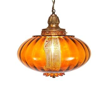 Mid-Century UFO Swag Lamp Italian Empoli Glass BIG 14 inch diameter REWIRED