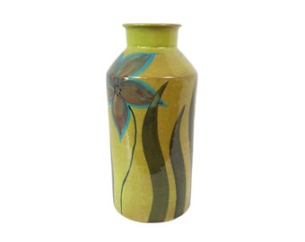 Alvino Bagni for Raymor Pottery Vase with Chartreuse Turquoise Flower