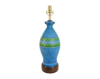 Bitossi Rimini Blue Italian Pottery Lamp Mid-Century Modern
