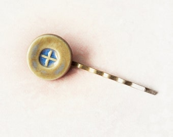 1 Ceramic Button Style Hair Pin- Glazed in Light Blue and Beige - Hair Jewelry Bobby Pin