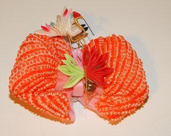 Vintage Hand Carved Wooden Kanzashi Tama Bead Hair Pin Ornament Maiko Geisha Nihongami