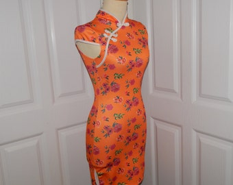 Knot Buttons Short Cheongsam Dress Coral Orange white /& red checkered with Binding